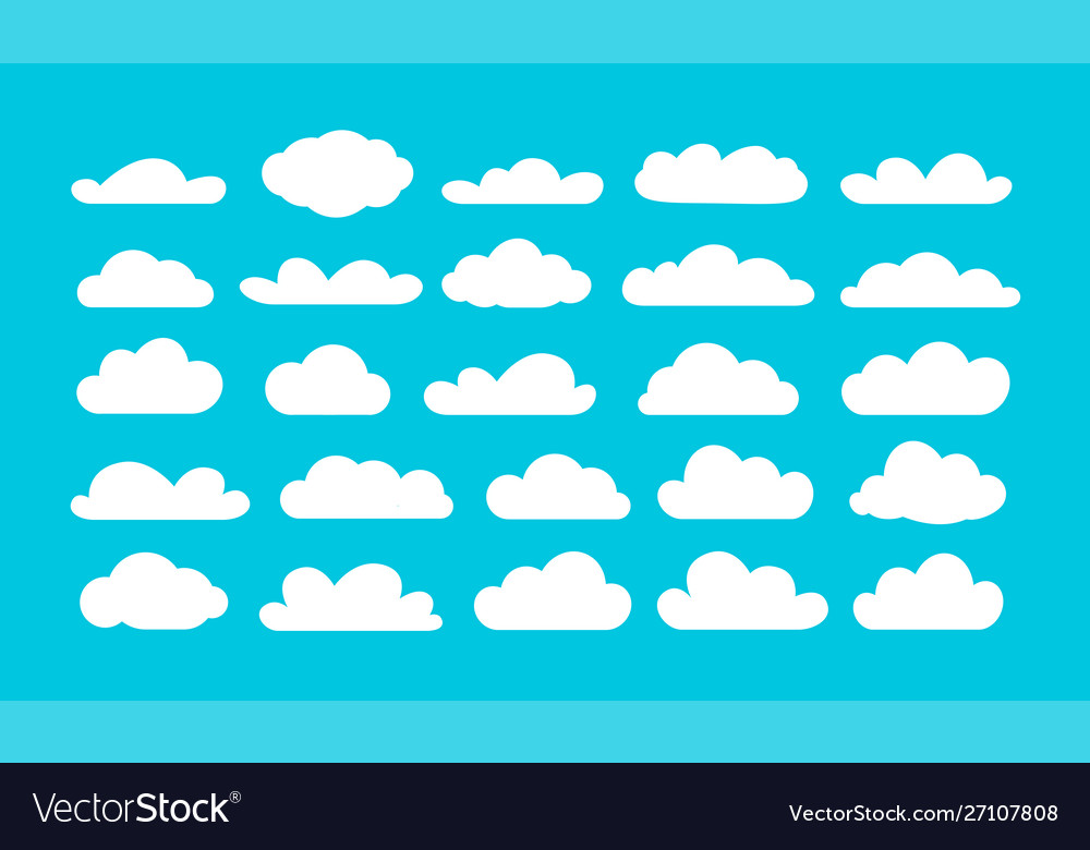 Set different cartoon clouds on blue sky