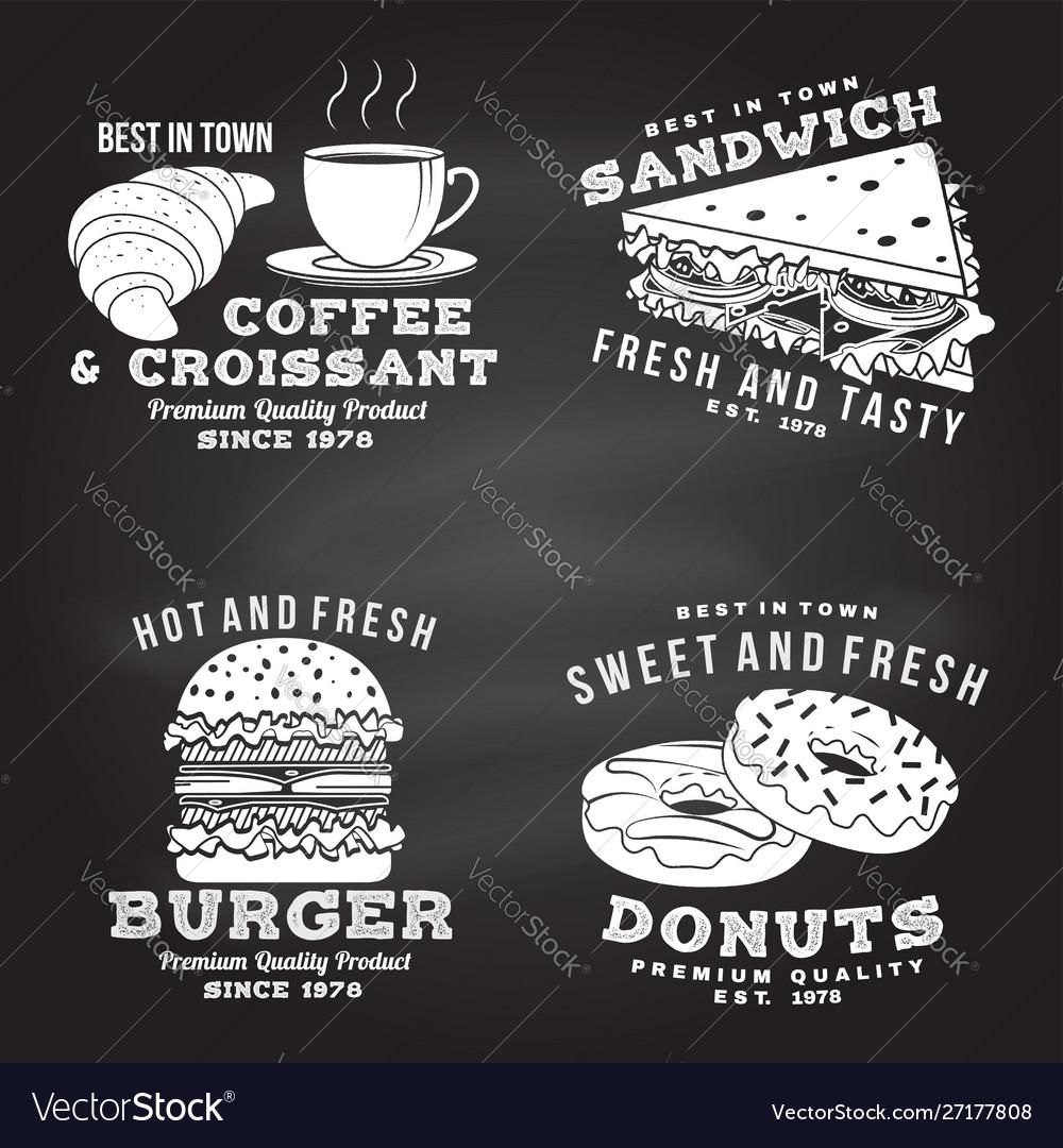 Set fast food retro badge design on the