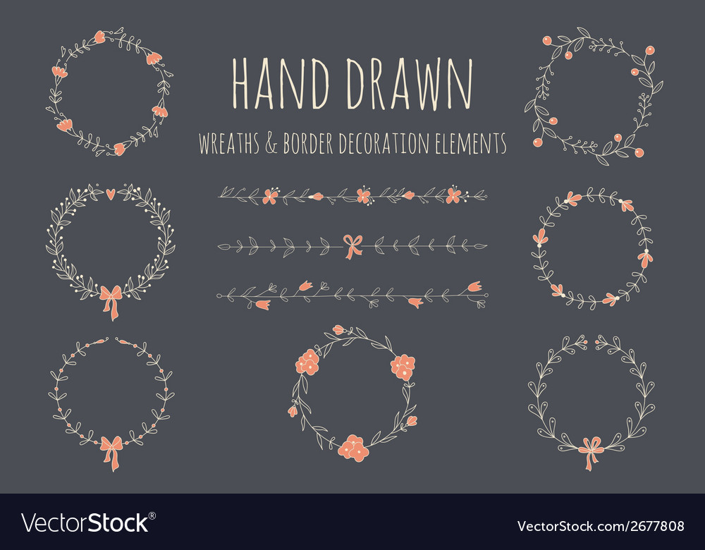 Set of hand drawn wreaths and borders vector image
