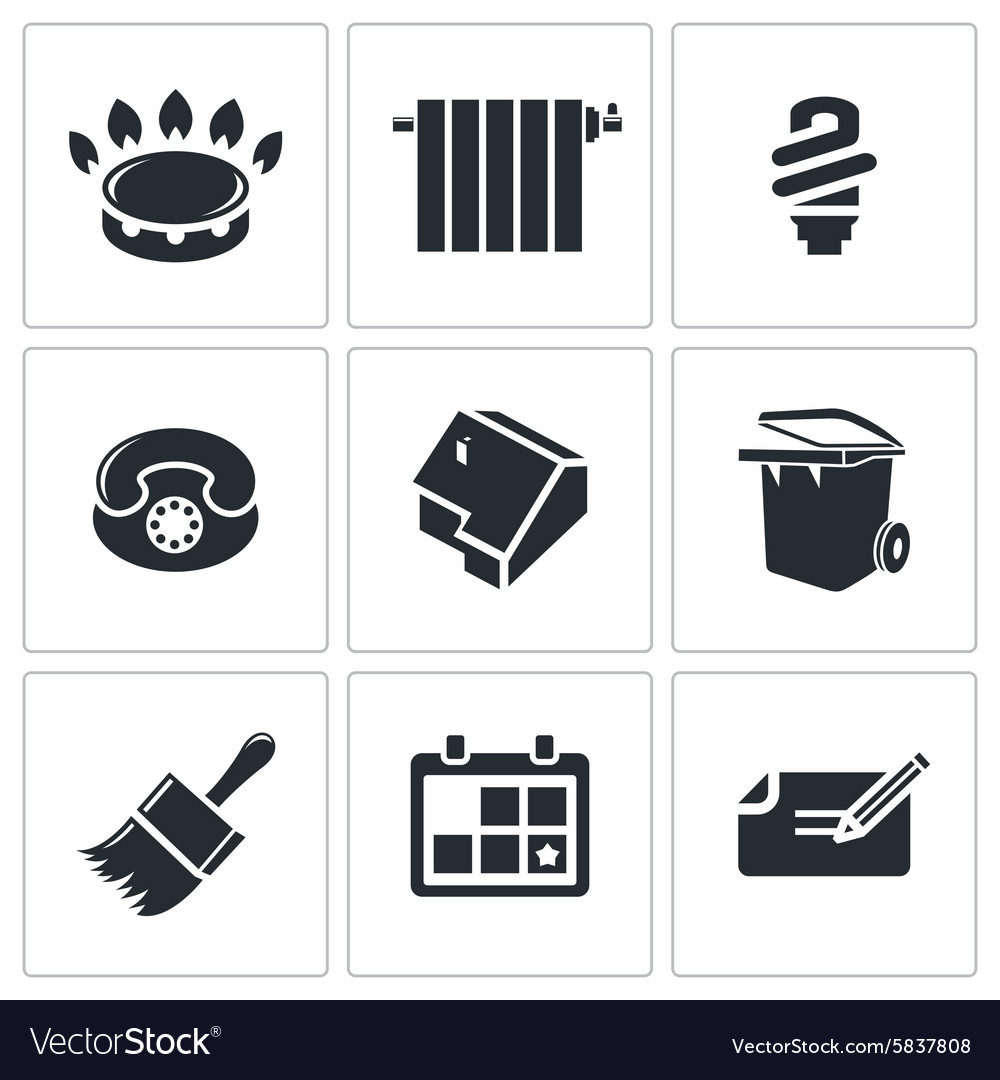 Utilities domestic problems Icons Set
