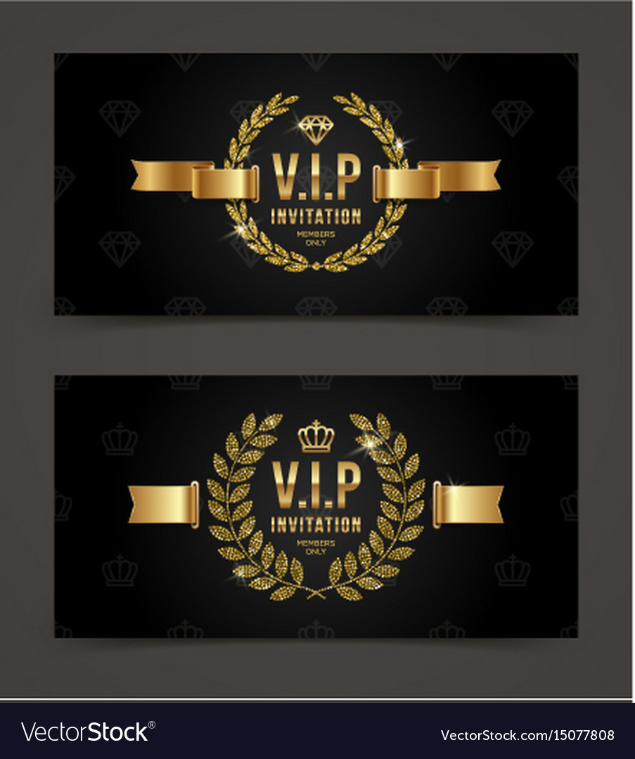 vip golden invitation template royalty free vector image