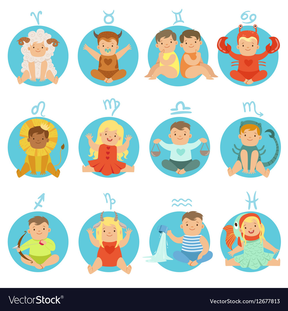 Babies In Twelve Zodiac Signs Costumes Sitting And