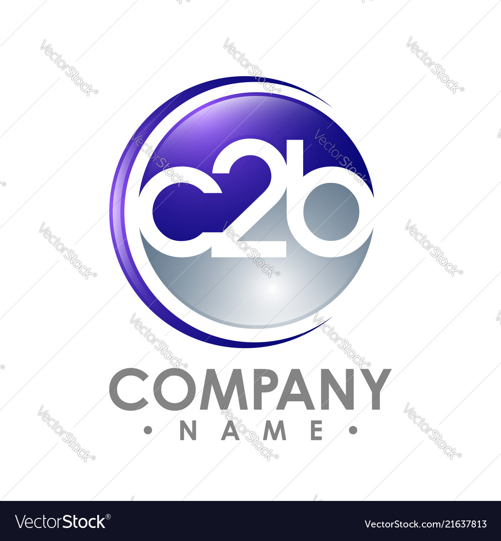 C2b word letter and numbering logo on an abstract