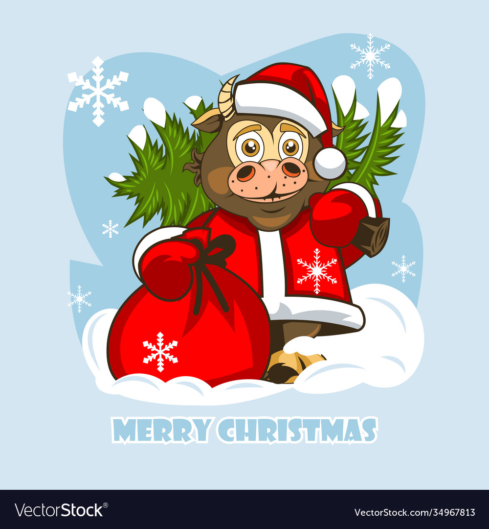 Cheerful baby bull in santa claus clothes