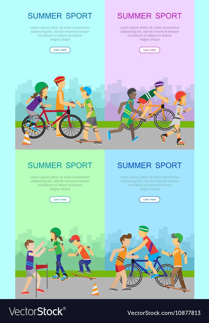 Children Going in for Sport Web Banner Poster Set vector image