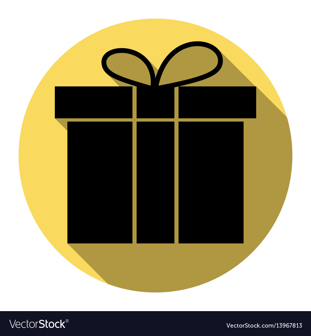 Gift box sign flat black icon with flat vector image