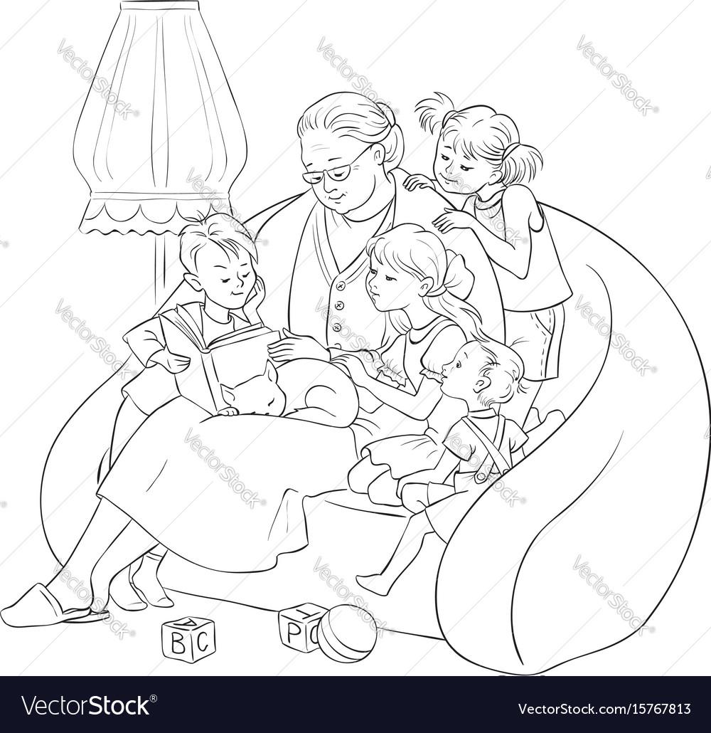 Grandmother is reading fairytales to grandchildren