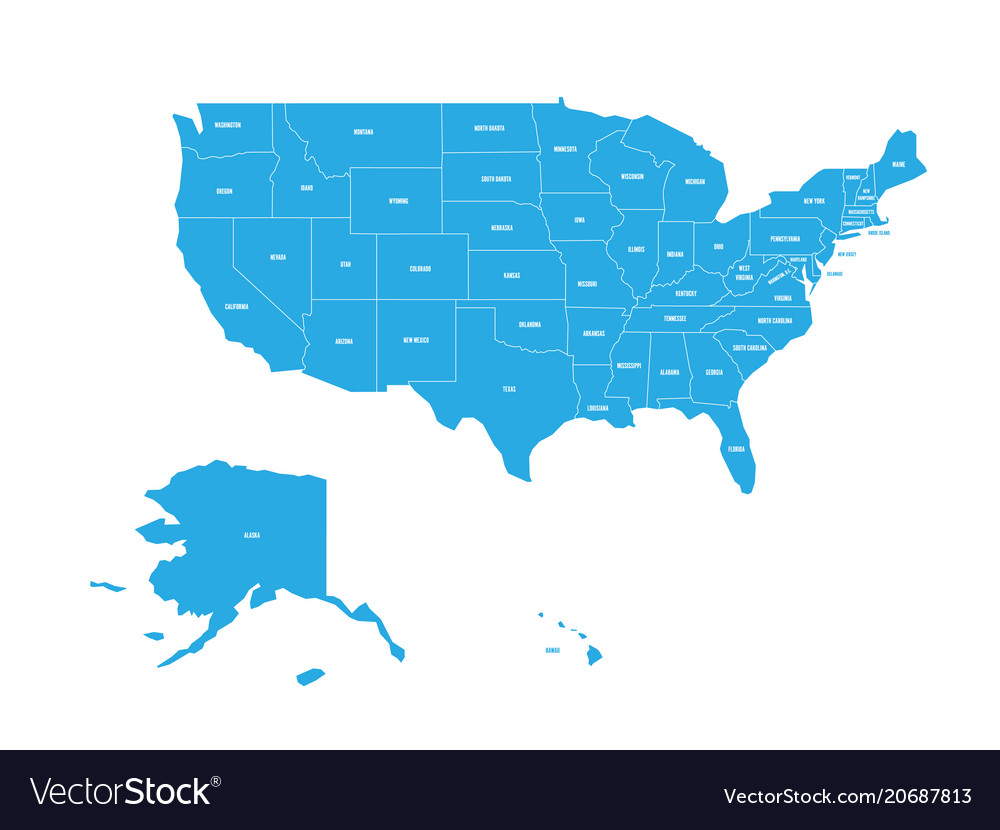 Map Of United States Of America With State Names