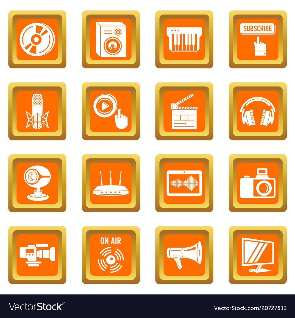 Multimedia internet icons set orange square