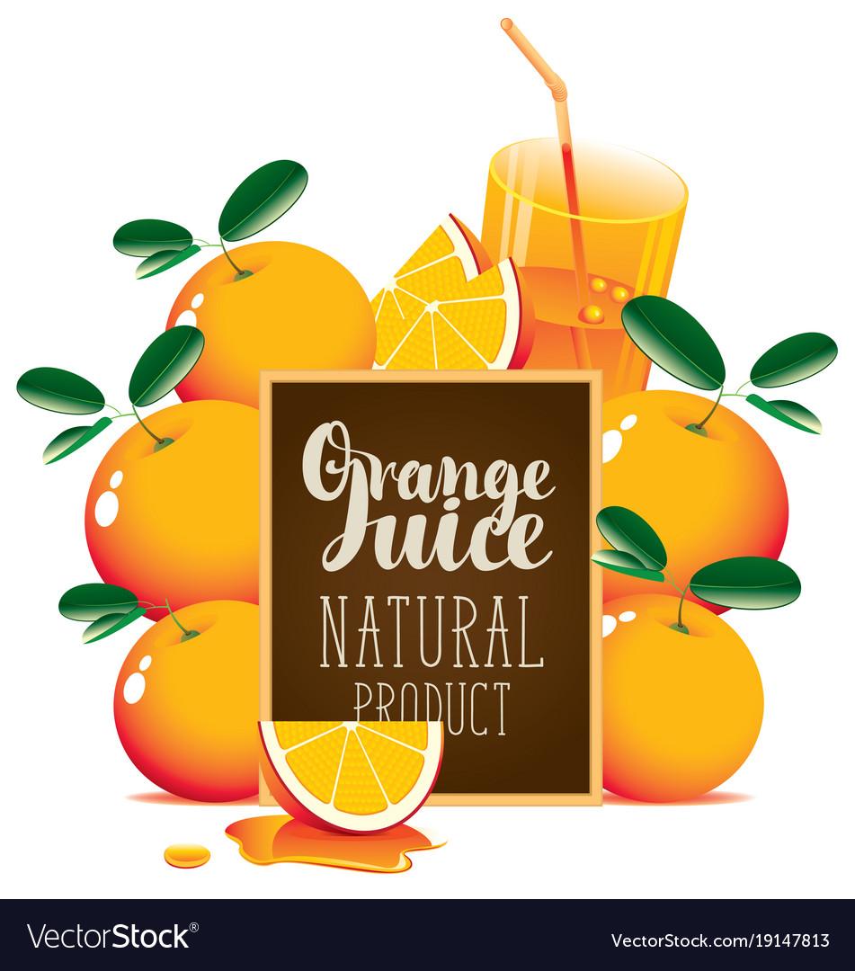 orange juice banner with oranges and blackboard vector image