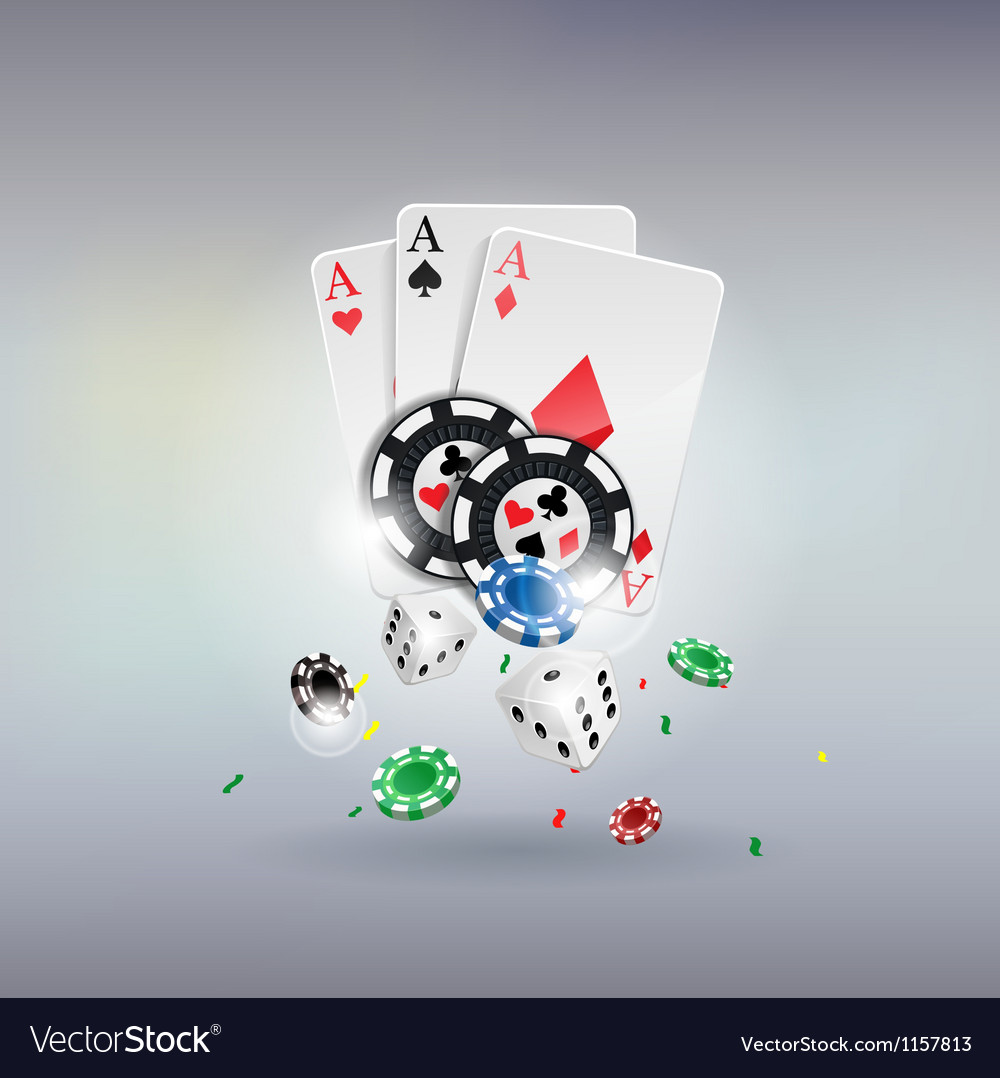 Poker gambling chips poster Chips dices cards