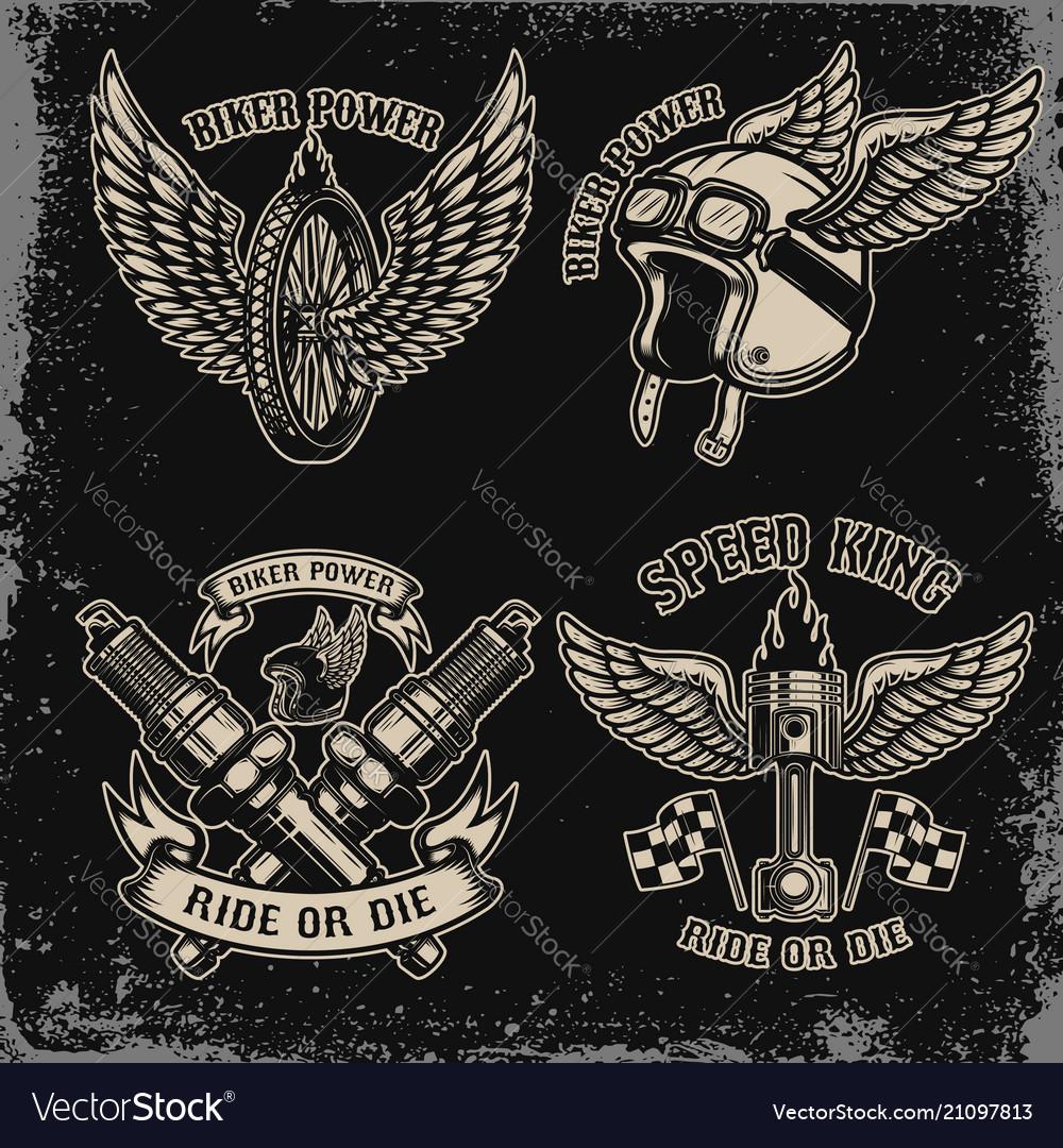 Set of vintage biker motorcycle emblems on dark