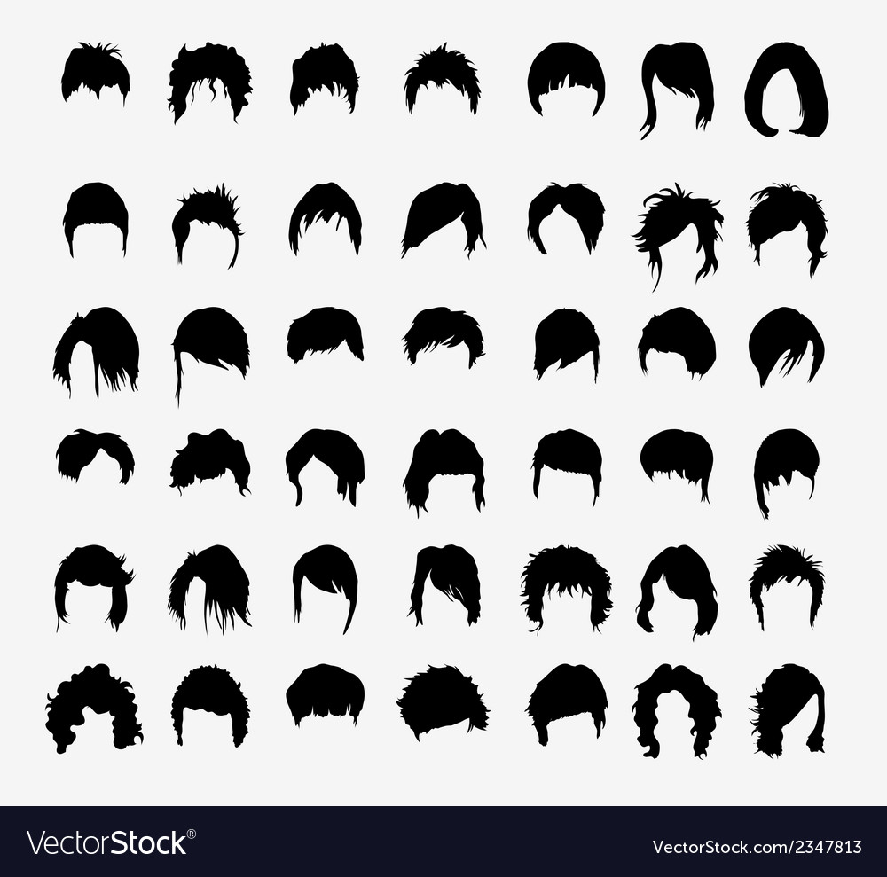 set of womens hairstyles royalty free vector image