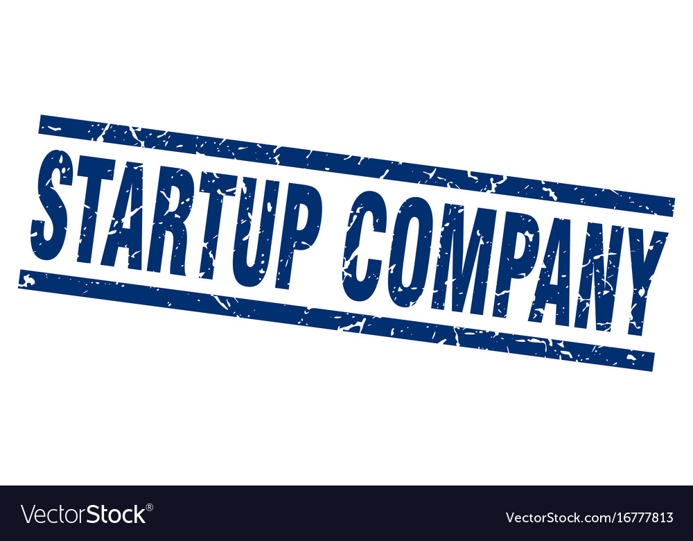 Square grunge blue startup company stamp vector image on VectorStock