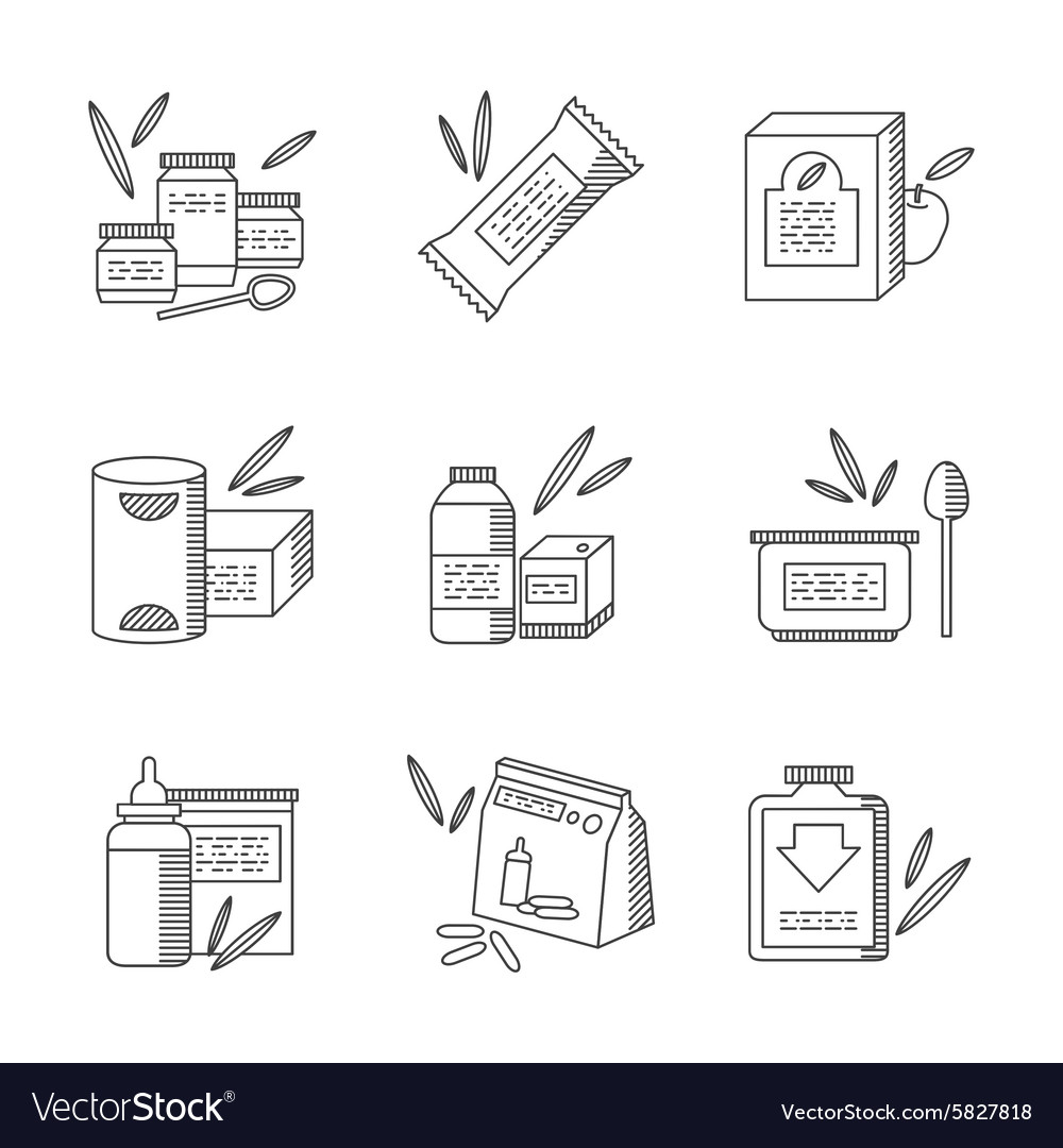 Baby food line icons set vector image