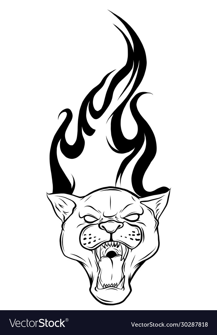 Black panther tattoo design with flames
