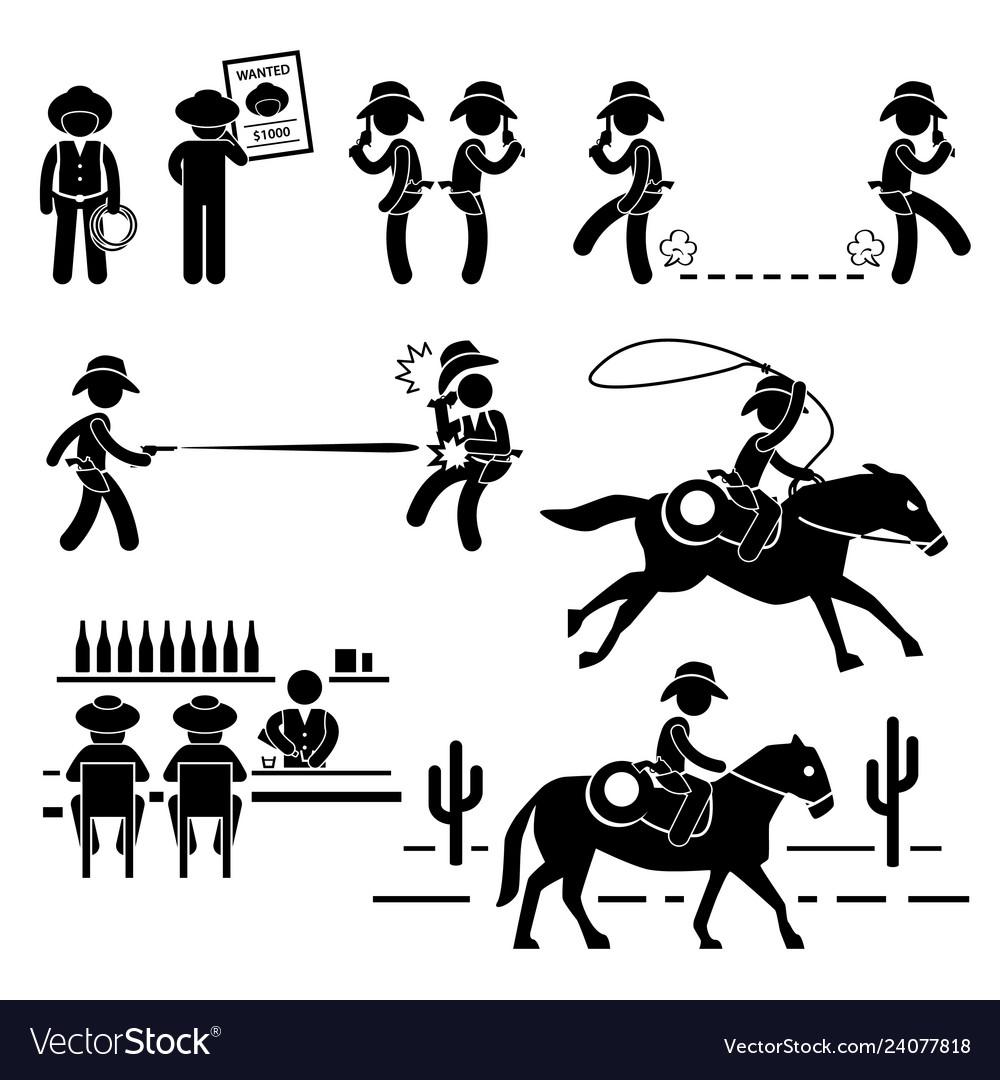 Cowboy wild west duel bar horse stick figure
