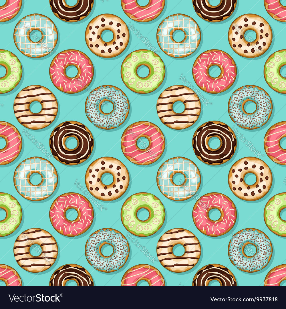 Donuts seamless pattern on blue background