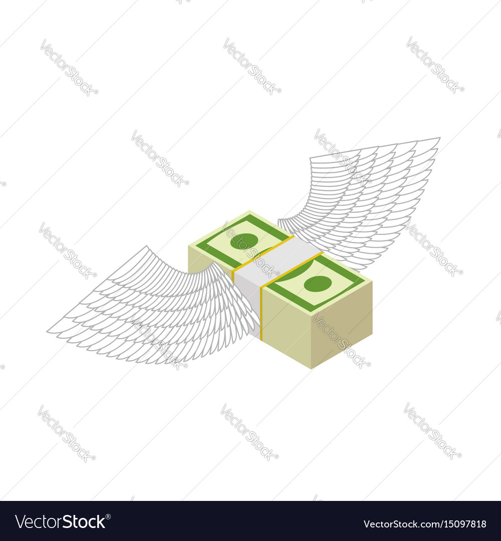 Flying money cash with wings financial income and vector image