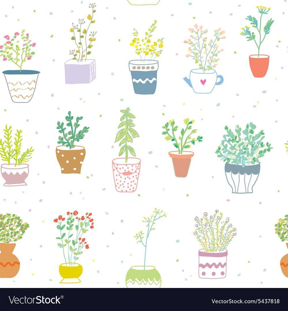 Many herbs kitchen seamless pattern - nice design