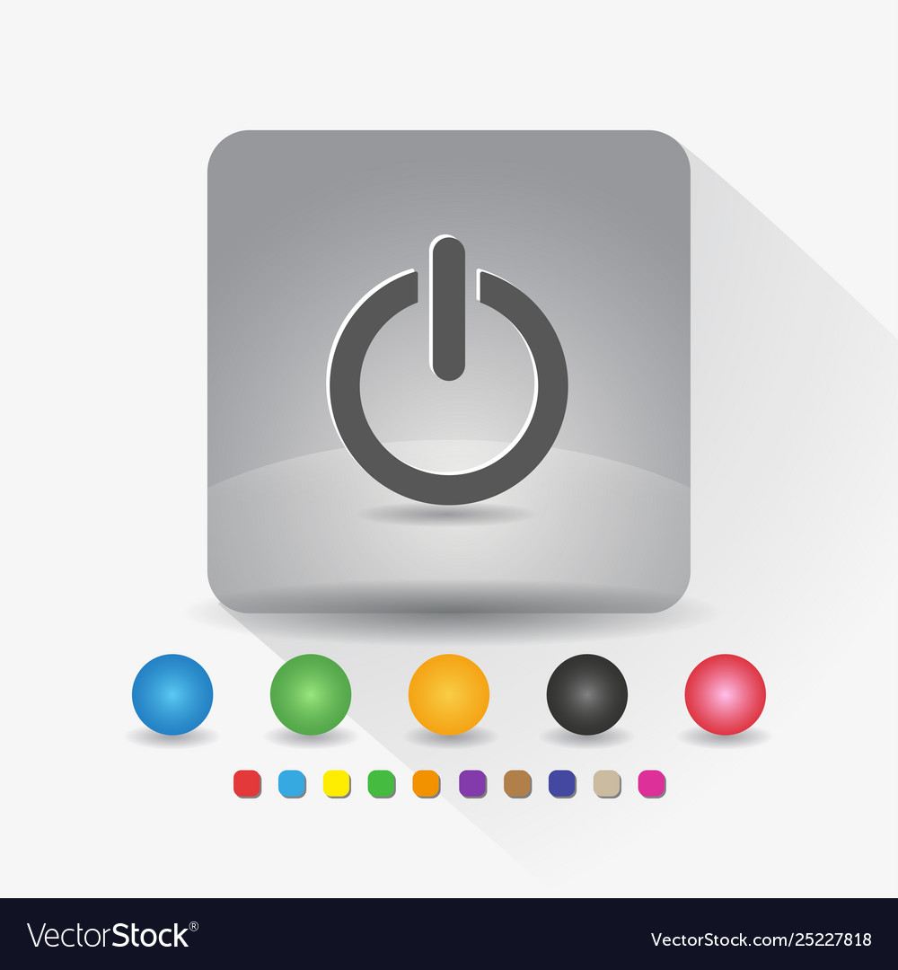 Power on off button icon sign symbol app in gray
