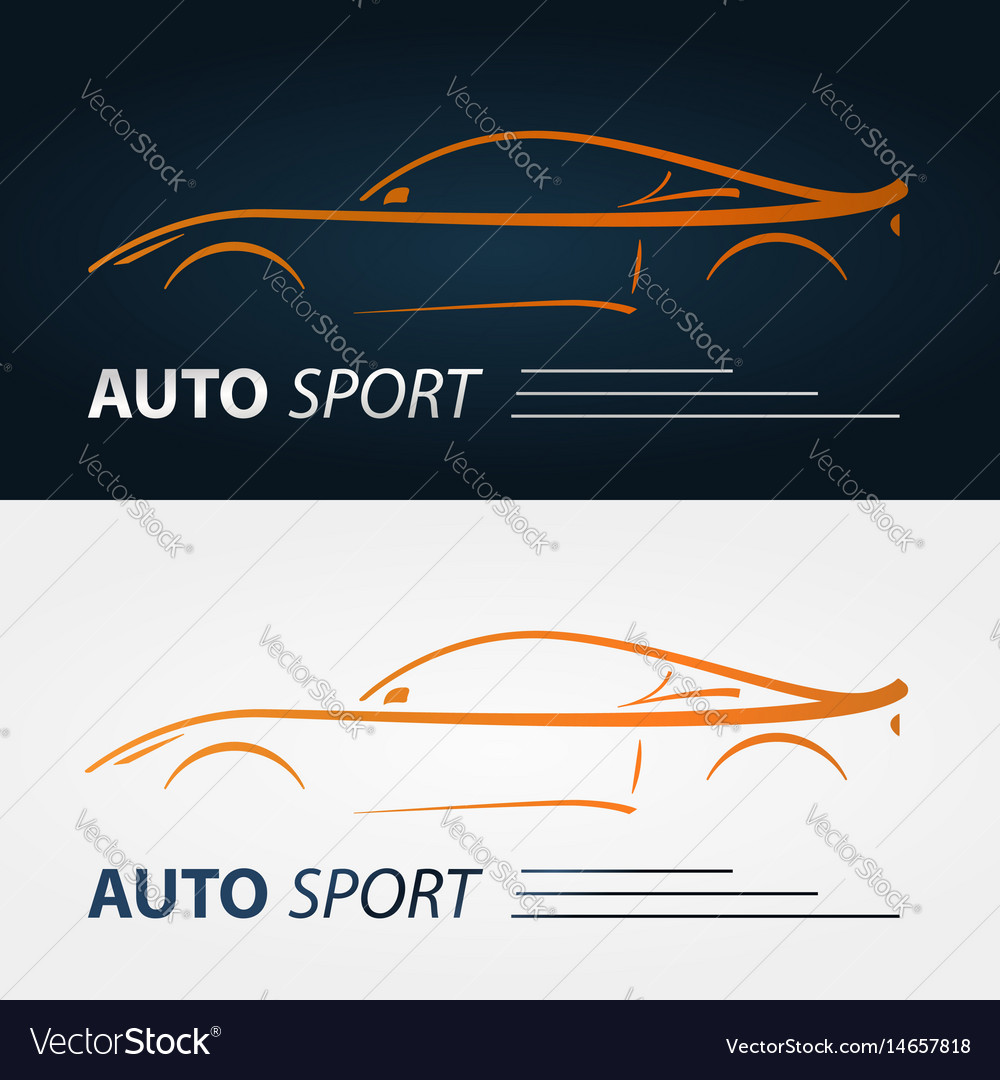 Set Of Modern Car Emblems Sports Car Silhouette Vector Image