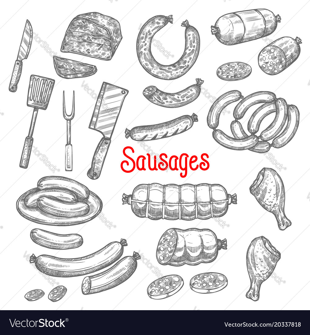 Sketch meat sausage products icons set