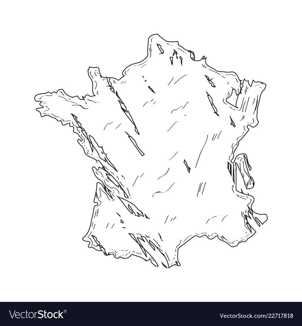 Map Of France Drawing.Sketch Of A Map Of France