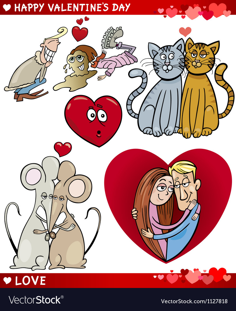 Valentine cartoon love set