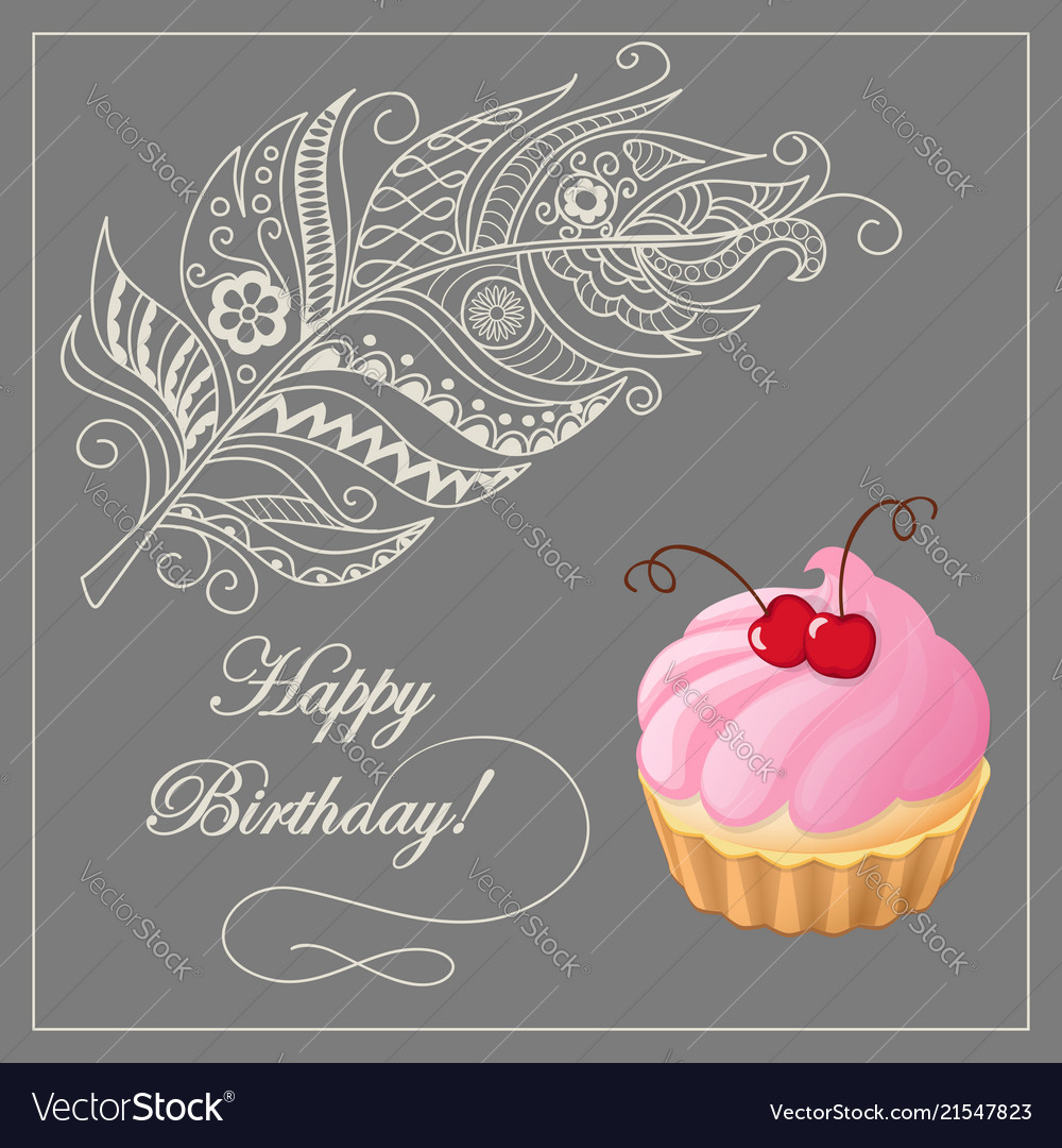 Birthday card with merinque cake cherry and