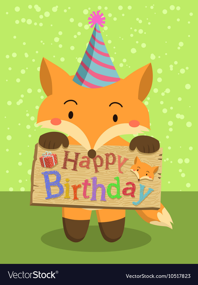 birthday fox Birthday Fox Cartoon Royalty Free Vector Image birthday fox