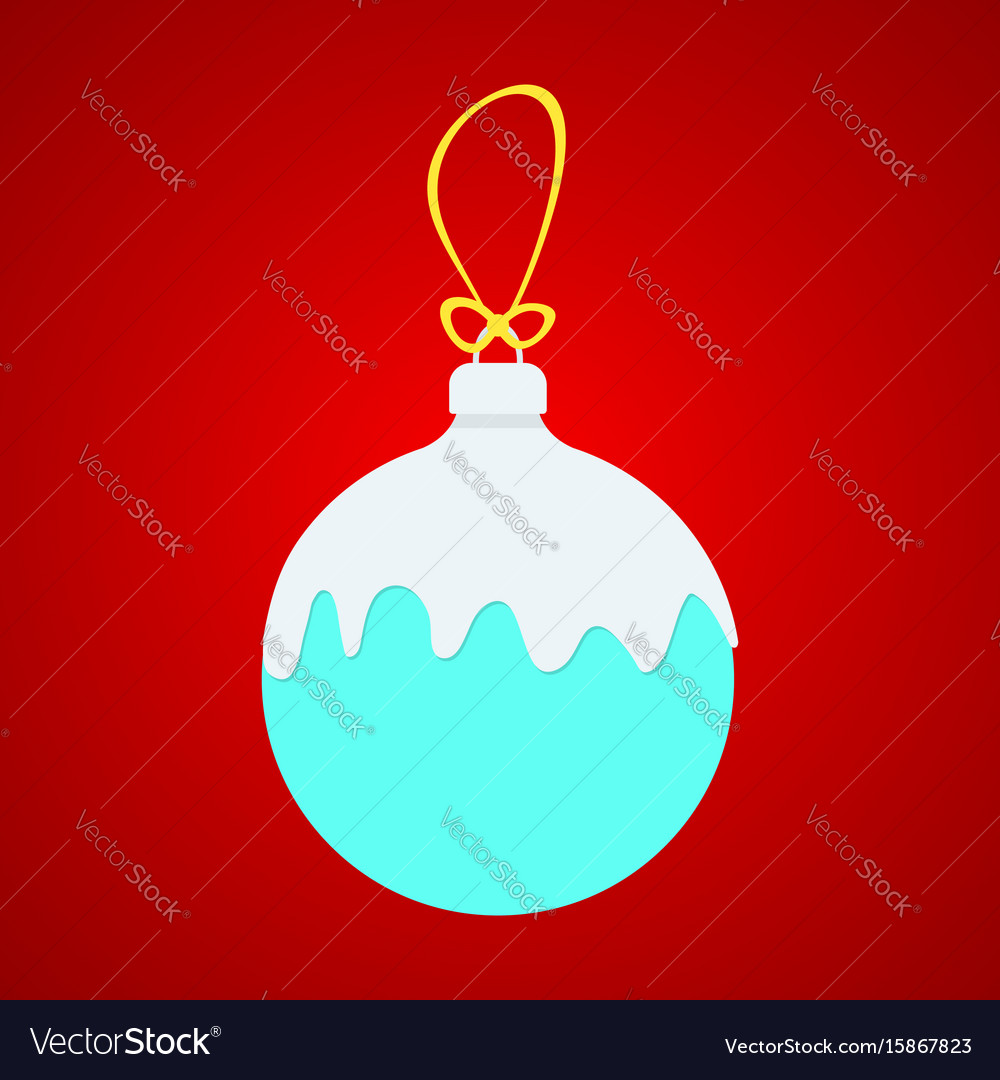 Blue x-ball with white snow on yellow string