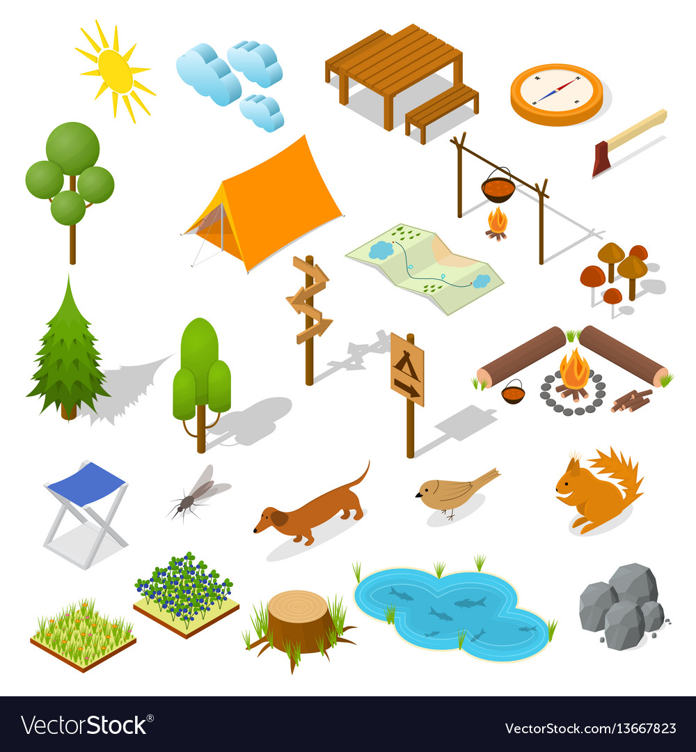 Camping element or part set isometric view