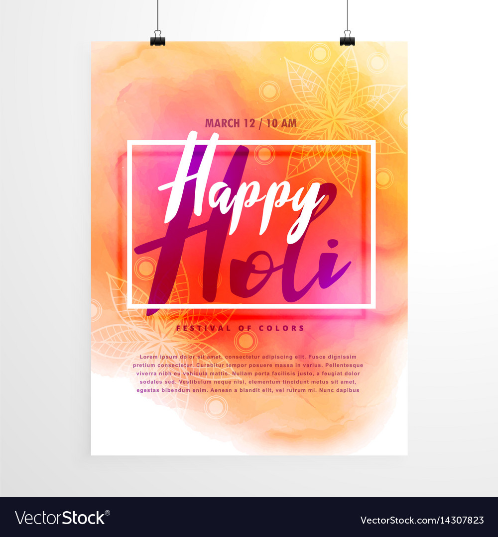 Creative holi festival flyer design with colorful