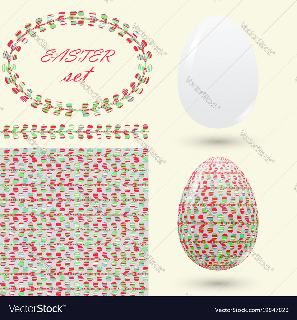 Easter set with a handmade pattern motley