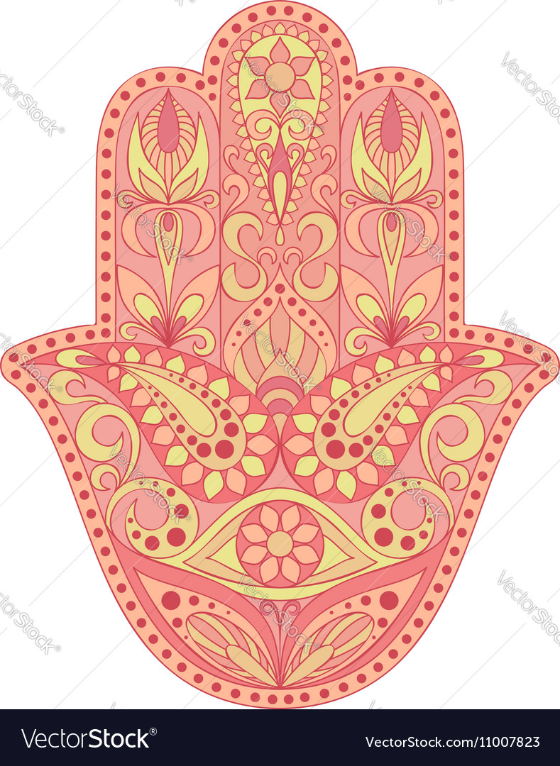 Hand drawn Hamsa symbol Hand of Fatima Ethnic vector image