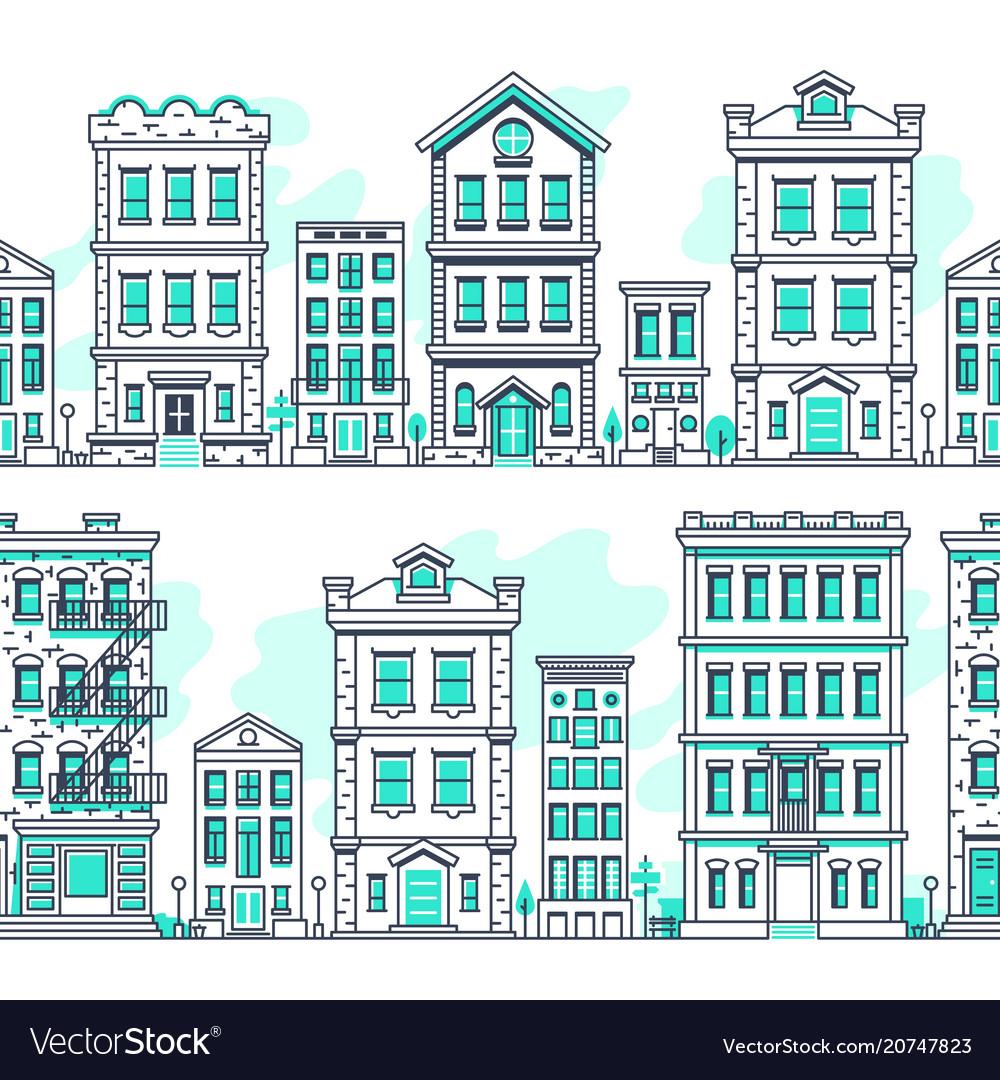 Line art city seamless landscapes outline housing