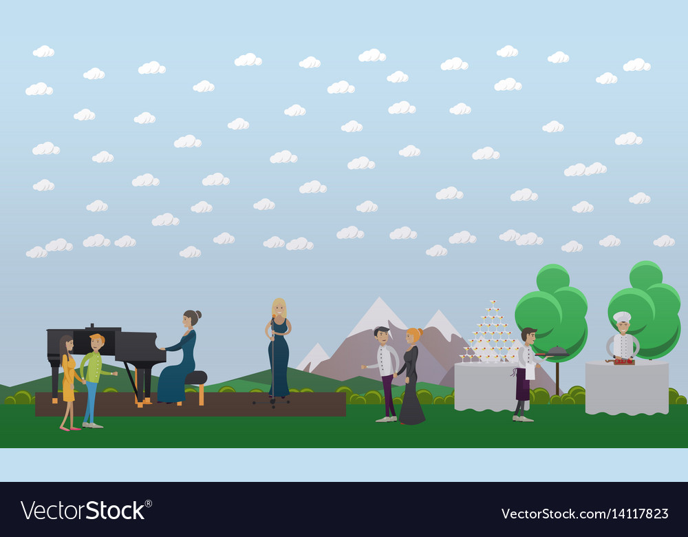 Live music and outdoor catering vector image