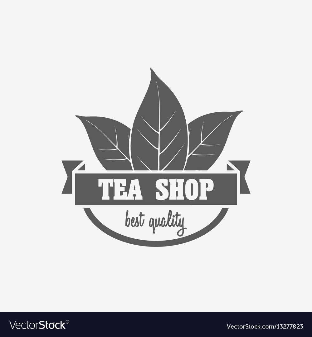 Logo badge or label design concept of tea shop