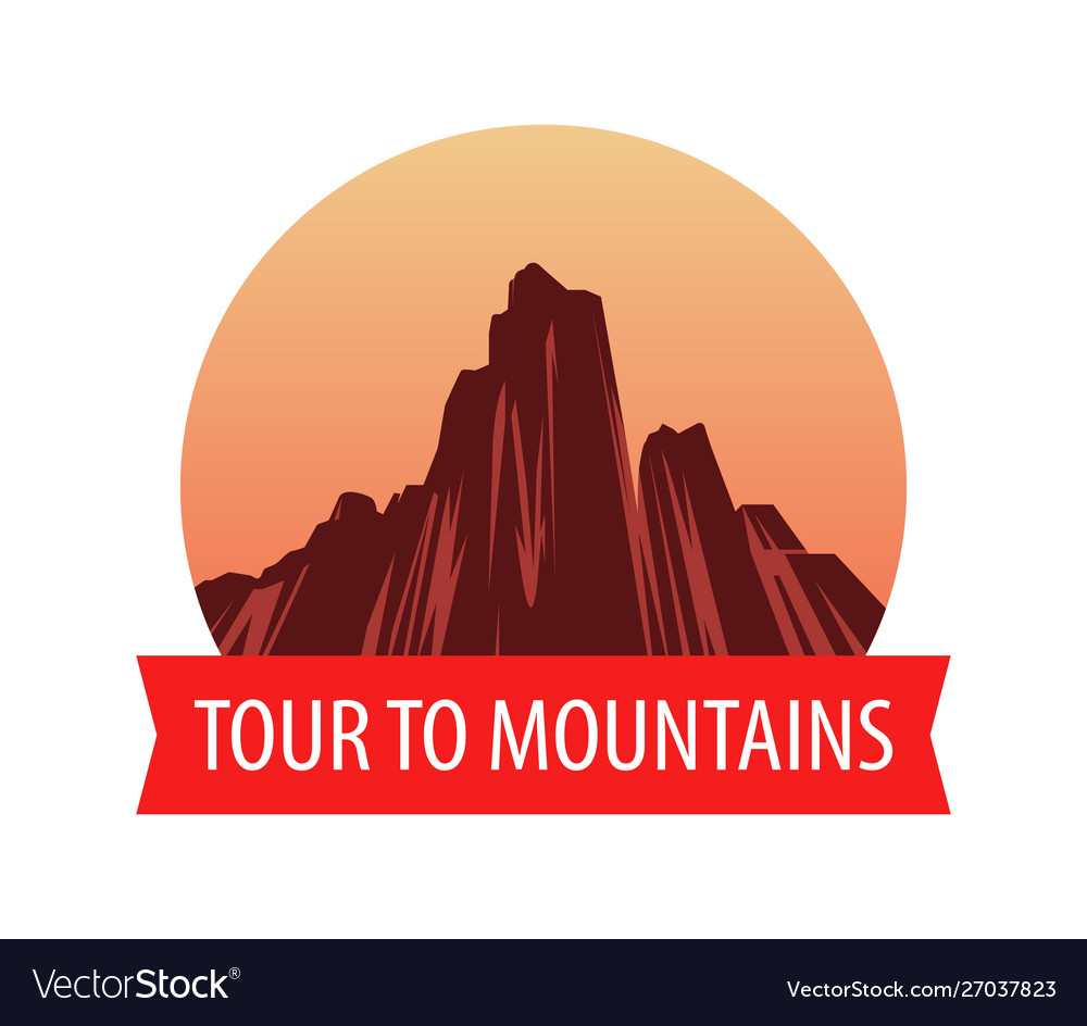 Logotype template with mountains at sunset