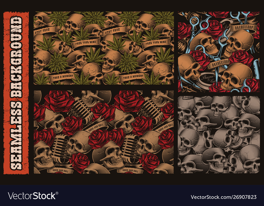 Set seamless patterns with with skulls