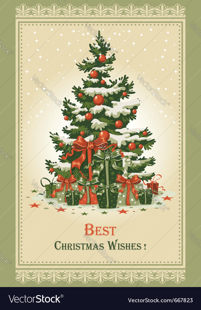Vintage christmas card Royalty Free Vector Image