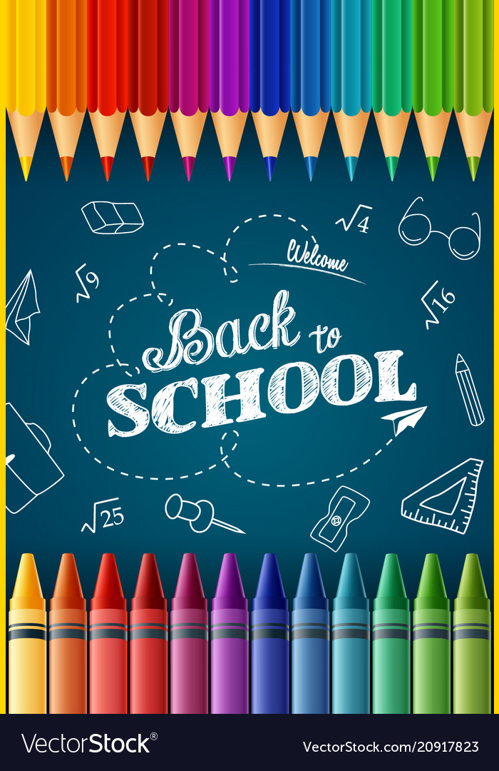 Welcome back to school with colored pencilscrayon