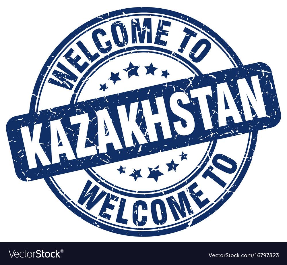 Welcome to kazakhstan blue round vintage stamp