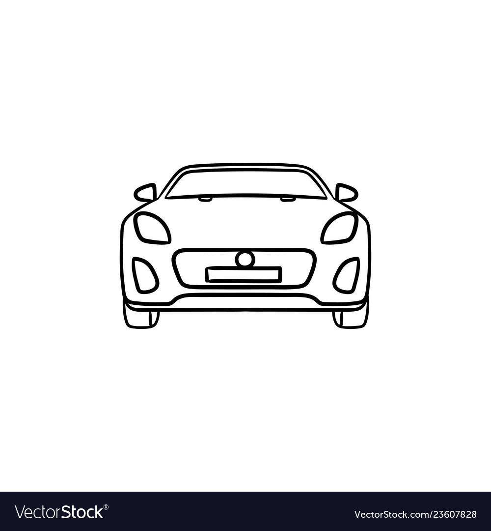 Car front view hand drawn outline doodle icon
