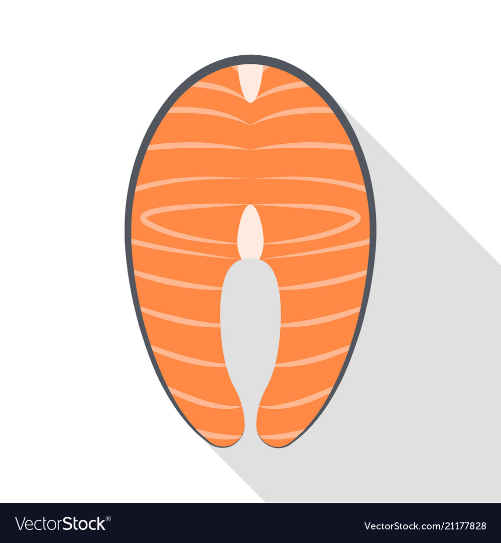Red meat fish icon flat style