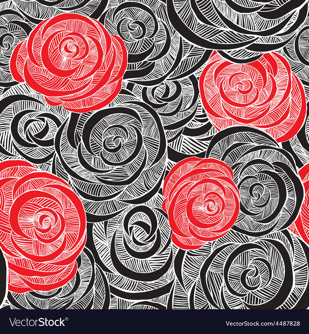 Roses Black And Red Wallpaper Royalty Free Vector Image