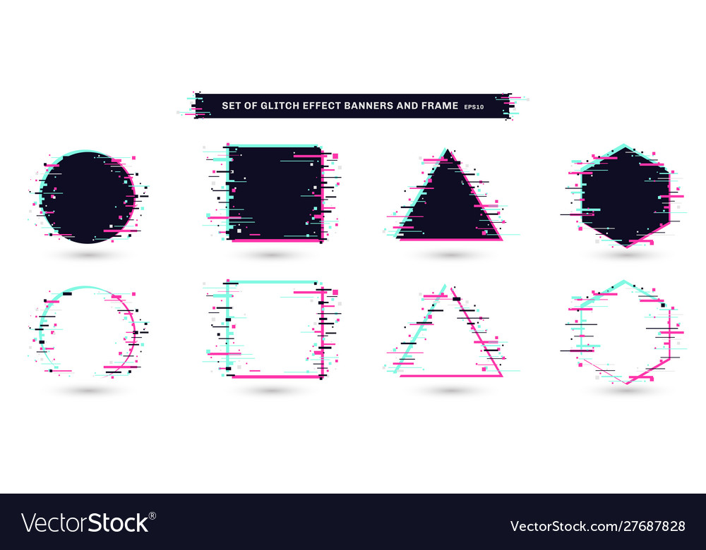 Set geometric shapes frames with glitch effect