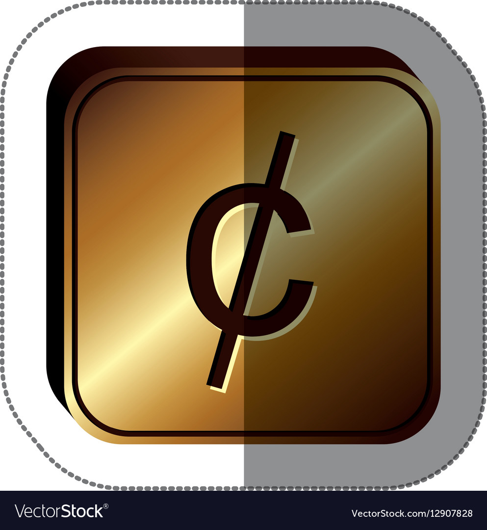 Sticker golden square with currency symbol of cent