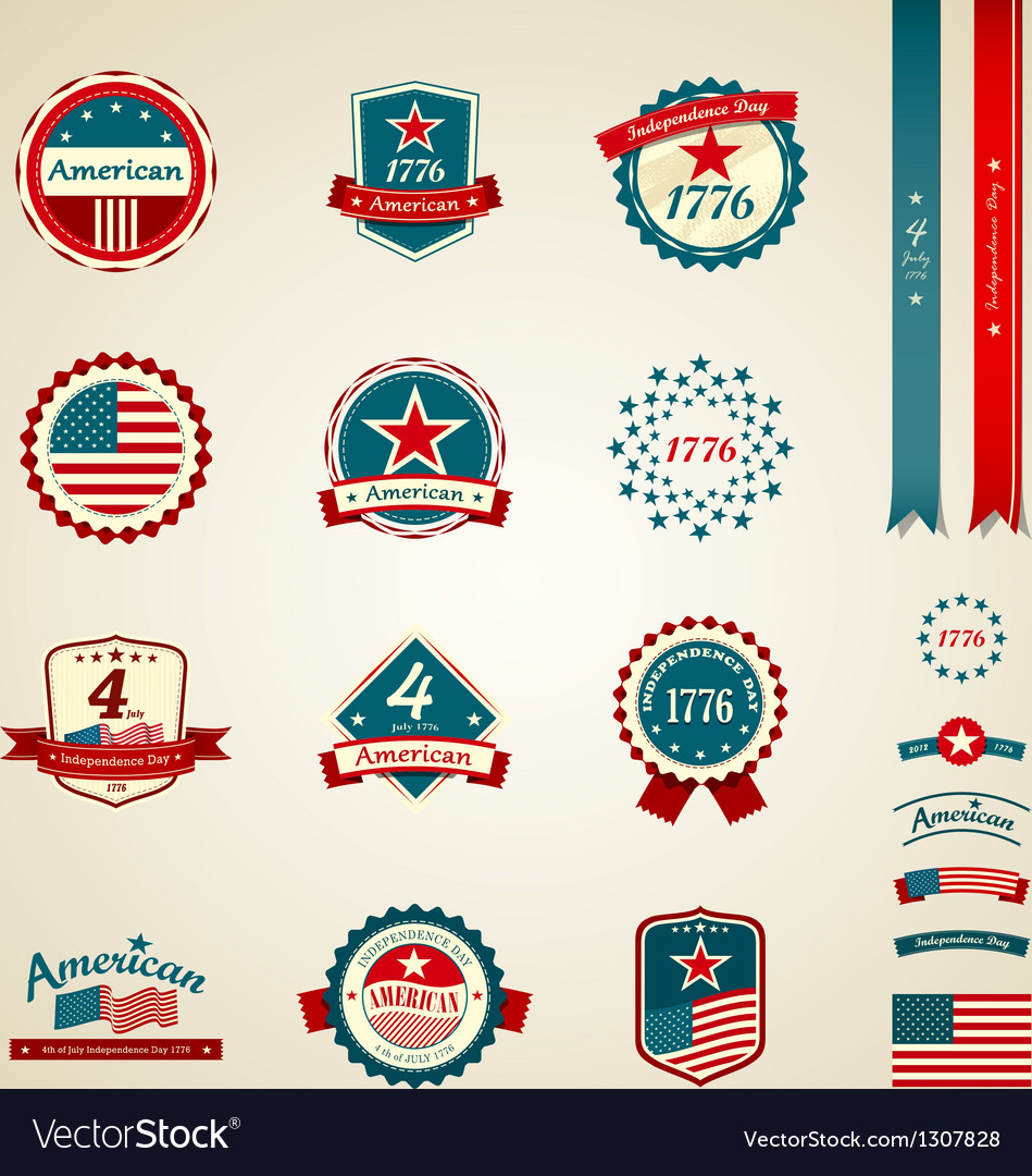 Vintage label and ribbons award collections vector image